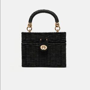 Zara minaudiere bag with braided handle black